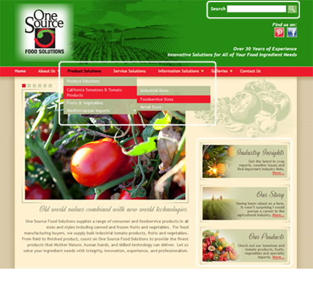 One Source Food Solutions - navigation